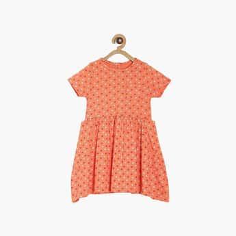 FS MINI KLUB Girls Printed Round Neck A-Line Dress