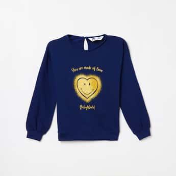FAME FOREVER KIDS Girls Printed Full Sleeves Sweatshirt