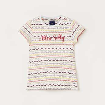 ALLEN SOLLY Girls Printed Round Neck T-shirt