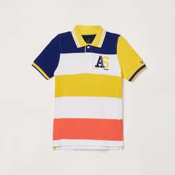 ALLEN SOLLY Boys Striped Polo T-shirt