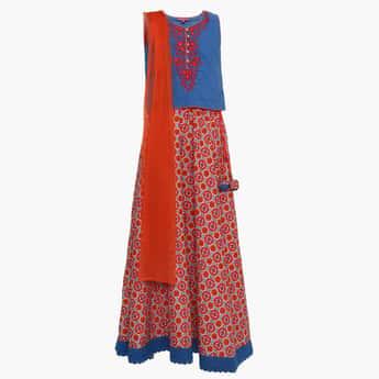BIBA Embroidered Sleeveless Ethnic Top Skirt Set