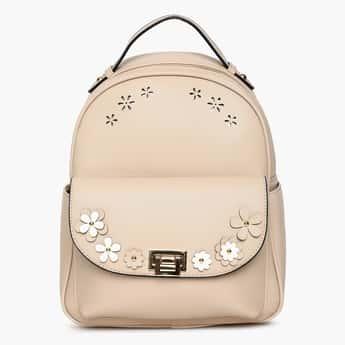 GINGER Floral Applique Zip Closure Backpack