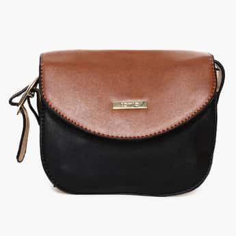 TONIQ Two Tone Flap Closure Sling Bag