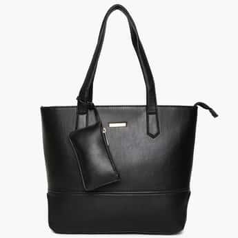 DAVID JONES Solid Zip Closure Tote Bag