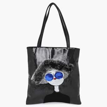 GINGER Sequinned Fur-Detail Tote Bag