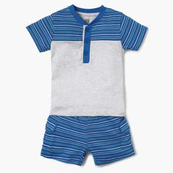 FS MINI KLUB Striped Henley Collar T-Shirt And Shorts Set