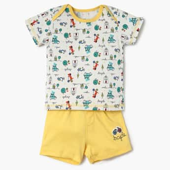 FS MINI KLUB Printed T-Shirt With Pants And Bib