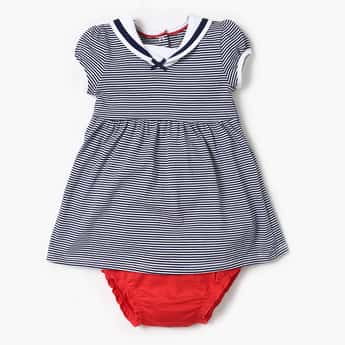 FS MINI KLUB Striped Cap Sleeves Dress and Panties Set