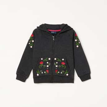 JUNIORS Girls Floral Embroidery Zip-Front Hoodie