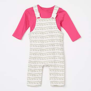 FS MINI KLUB Printed Dungaree with T-shirt - Set of 2 Pcs.