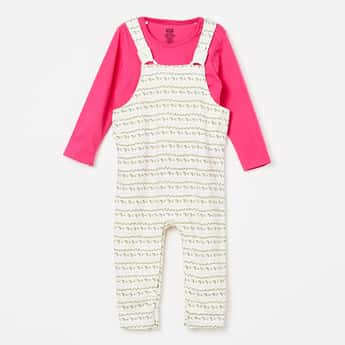 FS MINI KLUB Printed Full Sleeves Dungaree Set