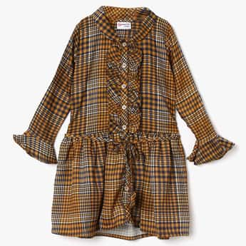 PEPPERMINT Checked Ruffled Detail Drawstring Waist Dress
