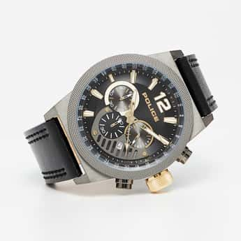 POLICE Men Leather Chronograph Watch