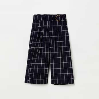 PEPPERMINT Windowpane Checked Culottes with Detachable Belt