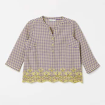 BOSSINI Floral Lace Checked Top with Scalloped Hem