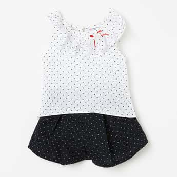 PEPPERMINT Polka-Dot Print Top with Flared Skirt - Set of 2 Pcs.