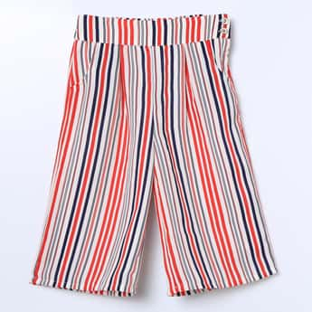 PEPPERMINT Striped Flat-Front Culottes
