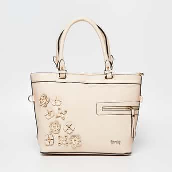 TONIQ Floral Embellished Handbag with Detachable Strap