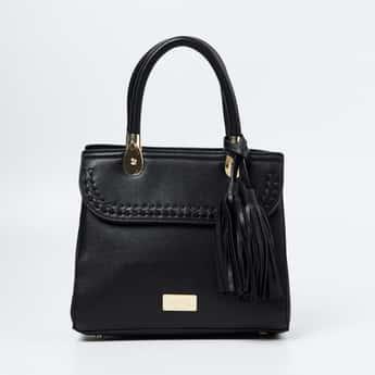TONIQ Textured Handbag with Rolled Handles
