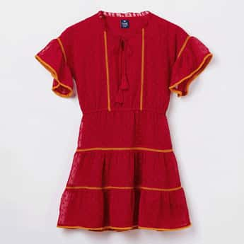 FAME FOREVER YOUNG Tassel Tie-up Detail Short Sleeves Dress