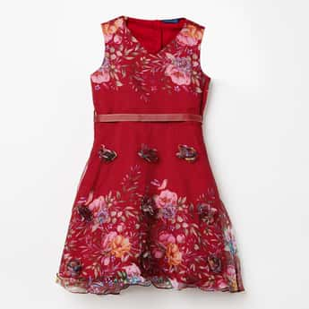 FAME FOREVER KIDS Floral Print Fit-And-Flare Dress