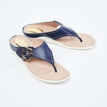 CATWALK T-strap Flat Sandals with Floral Accent