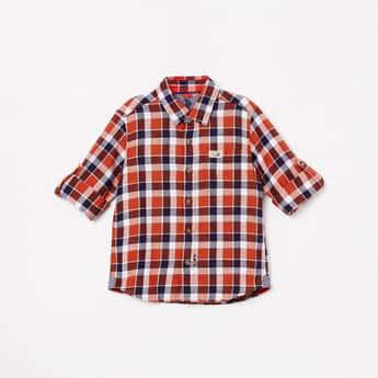 U.S. POLO ASSN KIDS Boys Checked Full Sleeves Casual Shirt