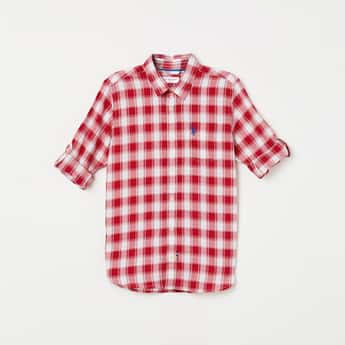 U.S. POLO ASSN. KIDS Checked Full Sleeves Casual Shirt