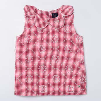 ALLEN SOLLY Embroidered Checked Top