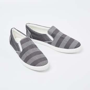 FORCA Patterned Weave Striped Plimsolls