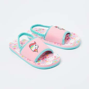 FAME FOREVER Printed Slingback Sandals with Unicorn Applique