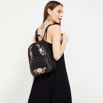 GINGER Floral Embroidery Studded Backpack