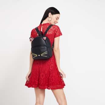 GINGER Kitten Accent Textured Backpack
