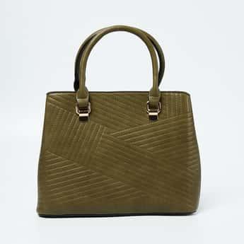 CODE Textured Handbag with Rolled Handles