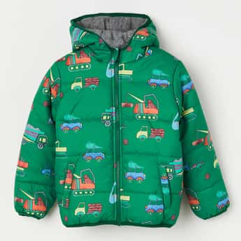 JUNIORS Printed Quilted Hooded Jacket