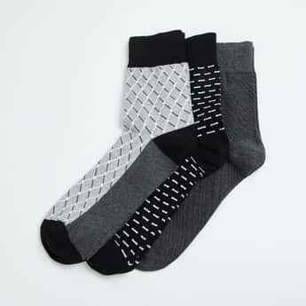 CODE Men Patterned Knit Formal Socks - Pack of 3
