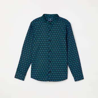 FAME FOREVER KIDS Printed Full Sleeves Band Collar Shirt