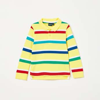 JUNIORS Striped Full Sleeves Polo T-shirt