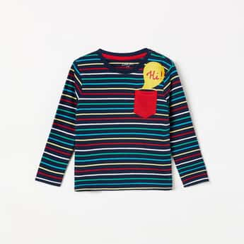JUNIORS Striped Full Sleeves T-shirt