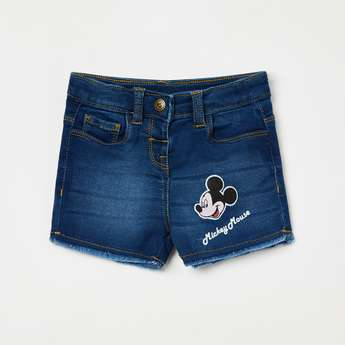 JUNIORS Frayed Hems Denim Shorts with Mickey Applique
