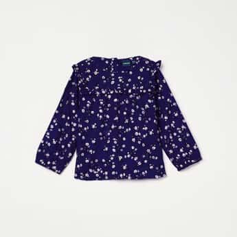 JUNIORS Floral Print Ruffled Yoke Top