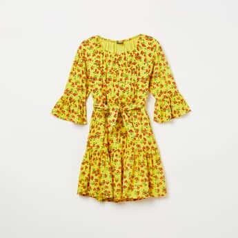 FAME FOREVER KIDS Floral Print Tie-Up Waist Dress