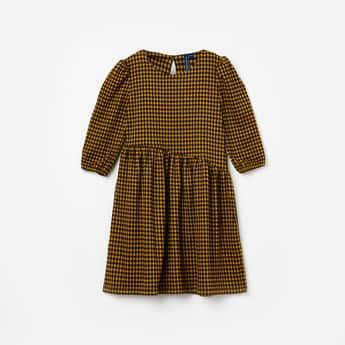 FAME FOREVER KIDS Checked Asymmetrical Waist Dress