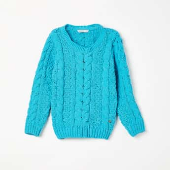 BOSSINI Solid Knitted Full Sleeves Sweater