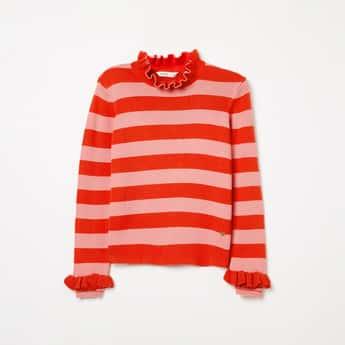 BOSSINI Ruffled Neck Striped Sweater