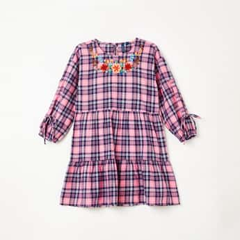 FAME FOREVER YOUNG Checked Full Sleeves Dress with Embroidery