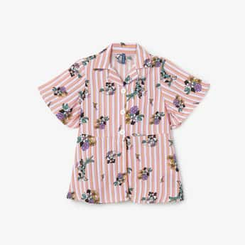 FAME FOREVER YOUNG Floral Print Striped Top