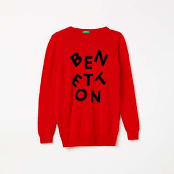 UNITED COLORS OF BENETTON Printed Crew Neck Sweater