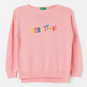 UNITED COLORS OF BENETTON Typographic Embroidery Crew-Neck Sweater