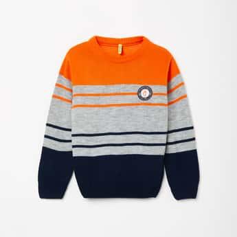 GINI & JONY Colourblocked Full Sleeves Sweater